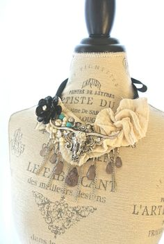 Natural statement necklace, cowgirl bib necklace, country chic, farm girl, prairie, rustic, ranch, womens jewelry