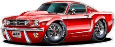 1965 Mustang GT Fastback 289 Cartoon Car Wall Graphic x Long Decal Sticker Man Cave Garage Decor Boys Room Decor 1965 Mustang Gt, Ford Mustang Fastback, Mustang Cars, Rat Fink, 1960s Cars, Pt Cruiser, Automotive Art, Automotive Engineering, Engineering Colleges