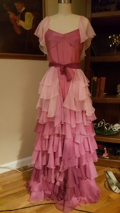 Hermione Granger Yule Ball Dress Gown Replica Costume Silk Commission Harry Potter Pink Blue Chiffon