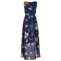 Navy & Pink Painterly Dandelion Print Midi Dress
