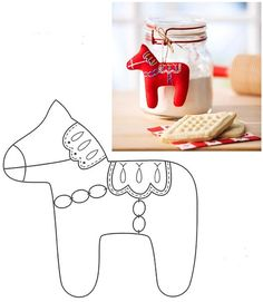 Dala Horse Christmas Ornament pattern