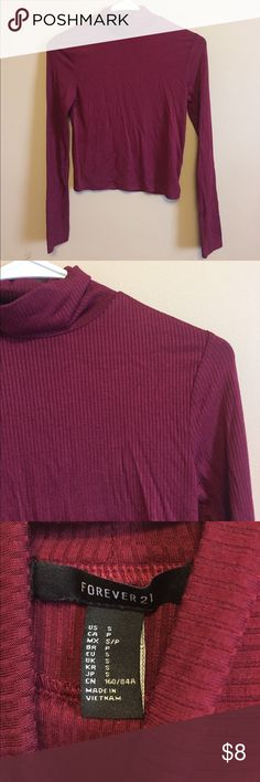 NWT Burgundy Crop Long Sleeve Brand new crop long sleeve shirt. This is perfect with a pair of high waisted jeans!   🥂Bundle 2+ items and receive 15% off!🥂 Forever 21 Tops Crop Tops