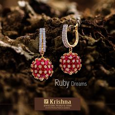 These exquisitely crafted pair of ruby earrings will turn the tables in your favour. Unravel their greatness at our store. KrishnaJewellers 29 June 2018