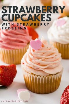Strawberry Cupcakes with Strawberry Frosting Moist and flavorful cupcakes loaded with fresh strawberries! It's easy to make and made for complete beginners! A perfect surprise for special someone on Valentines day, birthday or any occasion! Winter Desserts, Köstliche Desserts, Delicious Desserts, Dessert Recipes, Frosting Recipes, Strawberry Cupcake Recipes, Cupcake Flavors, Gourmet Cupcakes, Frost Cupcakes