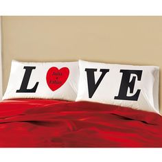 LOVE Pillowcase Set - personalized with your names