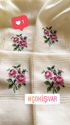 This Pin was discovered by Ema Cat Cross Stitches, Cross Stitch Rose, Cross Stitch Borders, Cross Stitch Flowers, Cross Stitch Designs, Cross Stitching, Cross Stitch Patterns, Embroidery Neck Designs, Ribbon Embroidery
