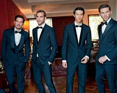 Navy suits for groomsmen