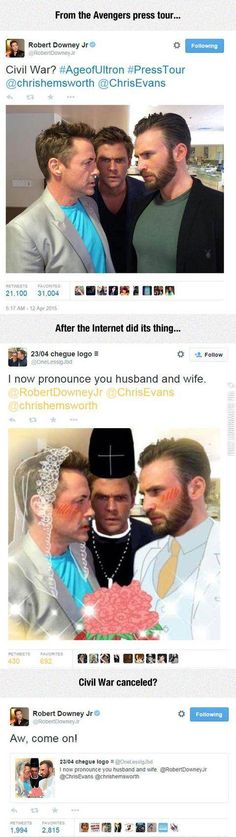 the interweb is amazing < Civil War; Iron Man and Captain America don't agree with the wedding decorations.