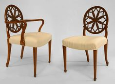 Set of 8 19th c. English Adam Carved Satinwood Chairs   From a unique collection of antique and modern armchairs at http://www.1stdibs.com/furniture/seating/armchairs/