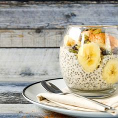 Oats, chia seeds, honey & almond milk stored overnight in a jar in the fridge.