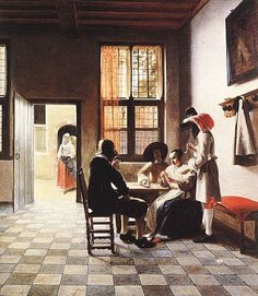 Pieter De Hooch~ Dutch Painter 1629-1684 ~ Cardplayers In A Sunlit Room 1658~ Painting 76.2 x 66.1 cm ~ Oil On Canvas ~ Part Of The Royal Windsor Colkection