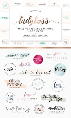 Pre-made logo pack in a girly style with quick and easy editing possibilities to create a stylish brand identity for your blog or business. Download the pack and edit your logo design in Photoshop or Illustrator. Great if you're wondering how to brand you