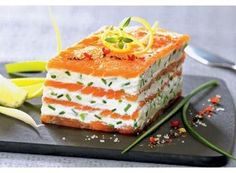 Mille-Feuille de saumon fumé au mascarpone citronné