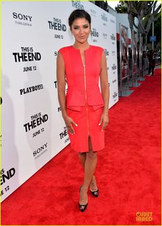Jessica Szohr at the 'This Is The End' Los Angeles Premiere wearing Ted Baker's JAMTHUN dress