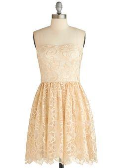 Rehearsal Dress? - Frill Seeking Dress - Short, Cream, A-line, Strapless, Embroidery, Wedding, Exclusives
