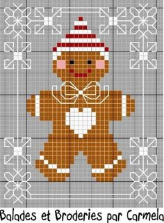 Gingerbread for Christmas . is he not cute enough to eat? / galleta de jengibre en punto de cruz patrón / pattern Plus Xmas Cross Stitch, Cross Stitch Charts, Cross Stitch Designs, Cross Stitching, Cross Stitch Embroidery, Embroidery Patterns, Christmas Cross Stitch Patterns, Hand Embroidery, Cross Stitch Christmas Cards