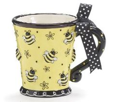 I'm on an insect and critter theme rampage! Hoping to find these adorable mugs in a larger size but would be happy with this . Bumble Bee Days Coffee Mug Cup Tea Ceramic 10 oz Gift Box Yellow Black Bees Crackpot Café, Bee Gifts, Mellow Yellow, Yellow Black, Color Black, Bees Knees, Hand Painted Ceramics, Ceramic Painting, Mug Cup