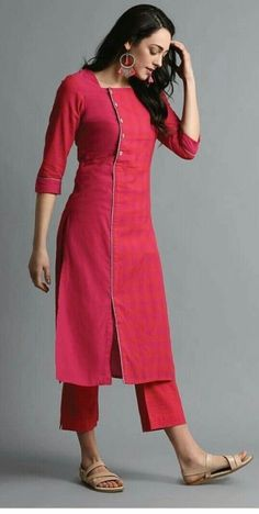 Kurti Neck Designs– 23 Latest Neck Styles for Kurtis In 2020 Kurti Sleeves Design, Sleeves Designs For Dresses, Neck Designs For Suits, Kurta Neck Design, Dress Neck Designs, Tunic Designs, Salwar Designs, Simple Kurti Designs, Kurta Designs Women