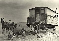 Horse drawn cook wagon in Klamath County, Oregon.