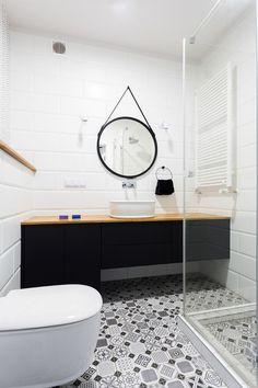 podłoga, białe płytki na ścianach Decor, Interior, Metal Wall Decor, Brick Wall Decor, Round Mirror Bathroom, Small Bathroom, White Bathroom Furniture, Bathroom Inspiration, Bathroom Wall