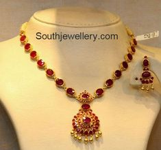 Ruby Necklace latest jewelry designs - Page 17 of 53 - Indian Jewellery Designs Gold Jewelry Simple, Simple Necklace, Gold Ruby Necklace, Ruby Jewelry, Wedding Jewelry, Coral Jewelry, Beaded Jewelry, Silver Jewelry, Silver Rings
