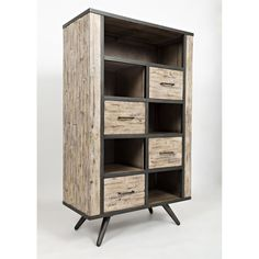 Jofran 1640-36 American Retrospective Bookcase with 4 Drawers and 5 Compartments