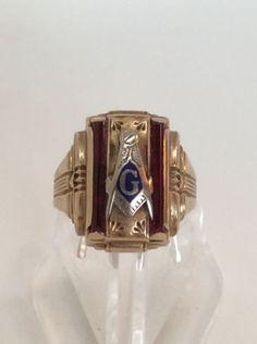 Hot Sale Mason Masonic No Stone Gold Plated Brass Men Custom Ring Size 7-15