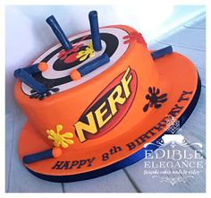 Nerf target cake, gorgeous bright colours! Everything edible.