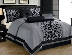 7 Pc Gray Black Luxury Flocking Comforter Sheet Set King Size New
