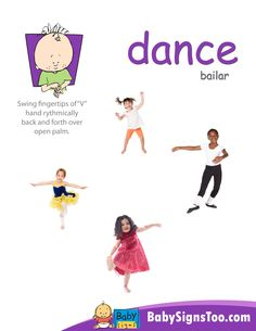 Free poster with the ASL sign for DANCE www.BabySignsToo.com #BabySigns #babysignlanguage #ASL