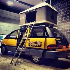 4 seater 4 sleeper Bumble Camper Toyota Van, Toyota Previa, Campervan Rental, Camper Van, Vans, Campers, Trucks, Bike, Space