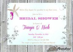 Destination Wedding Shower Invitations Ocean by FarmsteadDesigns