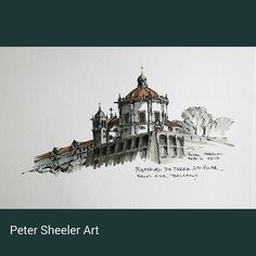 Urban sketch. Another of the Mosteiro da Serra do Pilar, from our Porto experience.  www.ebay.ca/usr/sheelerart . #city #town #cityscape #urban #buildings #landscape #street #art #artist #original #watercolor #watercolour #miniature #painting #ebay #paintingaday #ink #pen #waterbrush #winsornewtonmarker #pleinaire #urbansketch #urbansketchers