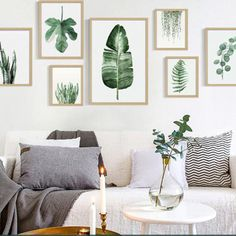 Modern-Watercolor-Green-Plant-Canvas-Painting-Palm-Leaf-Art-Print-Wall-Poster
