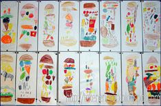 You need: drawing sheet 12 by 30 cm colour pencils Create a super size sandwich, stacked with all your favorite things to eat! The sandw. Classroom Art Projects, Art Classroom, Classroom Ideas, Artists For Kids, Art For Kids, Drawing Lessons, Art Lessons, Drawing Sheet, Apple Theme
