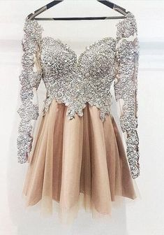 Silver Lace Beading Prom Dress, Short Homecoming Dress,