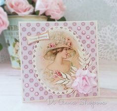 Handmade birthday card female, shabby roses chic, English garden lady