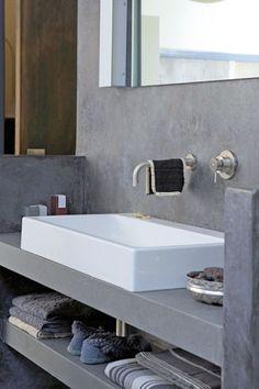 Mogelijke optie voor wastafel. Wel witte wasbak houden (Scholten), maar plaatsen op beton