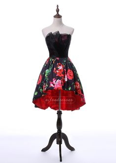 New Arrival Sweetheart A Line Printed Black High Low Prom Homecoming Dress 2017