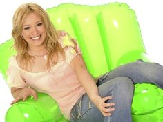 And Hilary Duff looks good in this neon blow-up chair.   The Sad Saga Of '90s Inflatable Furniture