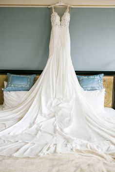 perfection! white plunging neckline michal medina wedding gown