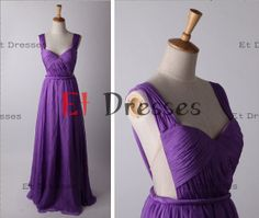 Straps sleeveless chiffon floor-length bridesmaid dress ,evening dress