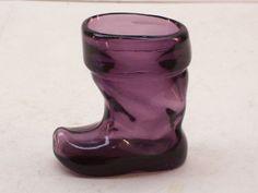 Vintage Amethyst Art Glass Boot Figurine Toothpick Holder Deep Purple Unmarked