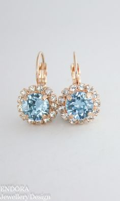 Aquamarine earringsBlue crystal earringsBlue by EndoraJewellery
