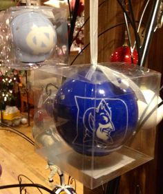 UNC and Duke LED flashing ornaments! For all of our sports fans out there.