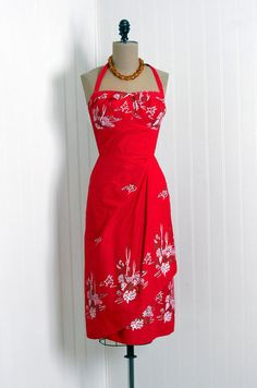 Red Tropical Vintage Dress