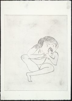 * Don't Put Your Foot in Your Mouth, state I. (1999-2000) Drypoint with pencil additions - Louise Bourgeois.