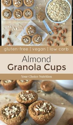 These gluten-free, vegan mini Almond Granola Cups are the perfect bite-sized snack. Low-carb and with 2 grams of protein per cup make these ideal for anytime of the day!   recipe via www.yourchoicenutrition.com