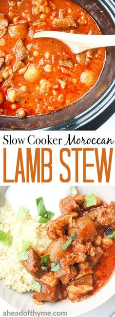 A bowl of flavourful and tender, juicy slow cooker Moroccan lamb stew served over a bowl of couscous is the ultimate Middle Eastern comfort food. | aheadofthyme.com via @aheadofthyme