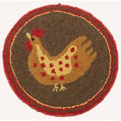 Chair Pad Hooked Wool Rooster - Primitive, Country Rustic $24.99